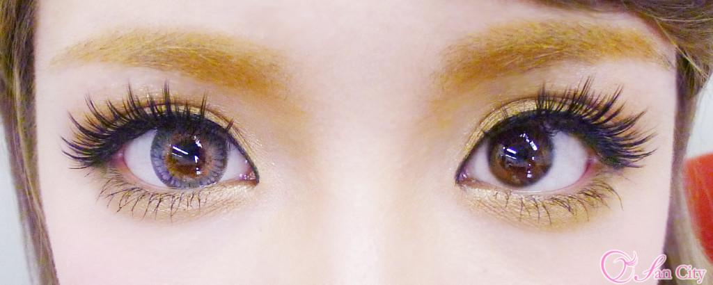 ドクターカラコン3トーングレー裸眼との比較