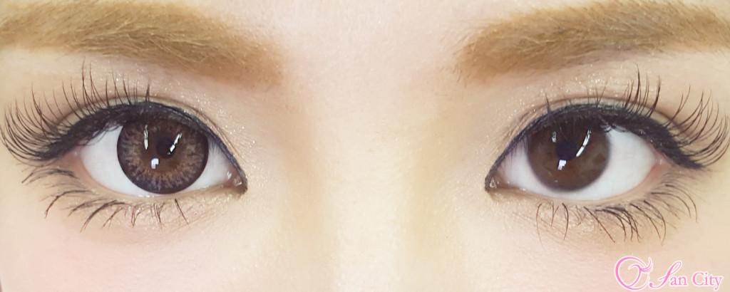 エコネコクリームピーチ裸眼との装着画像比較
