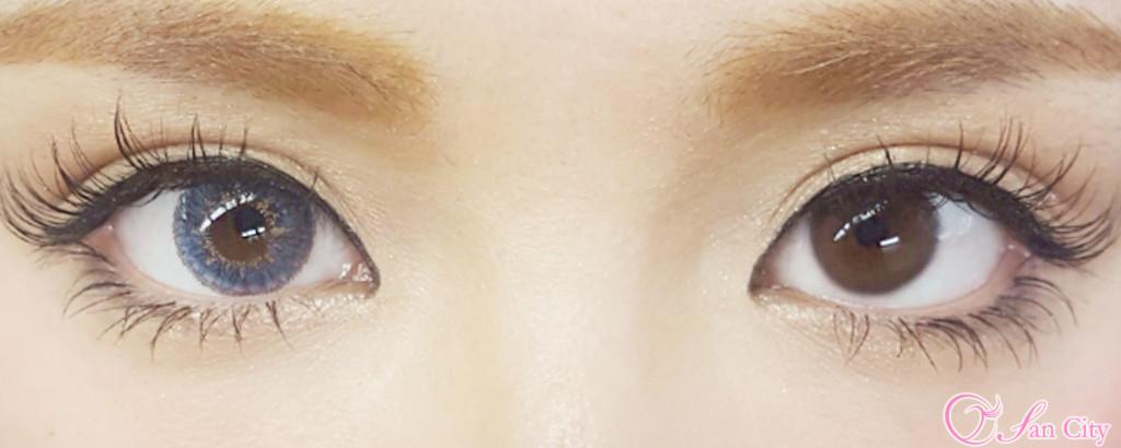 エコネコハニースカイ装着裸眼との比較