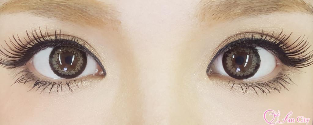浜崎あゆみカラコンのキャレムドールブラックブラウン装着画像