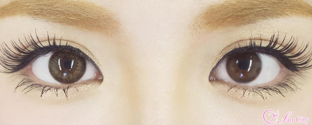 リッチベイビー藤井リナカラコンのピスタチオブラウン比較画像