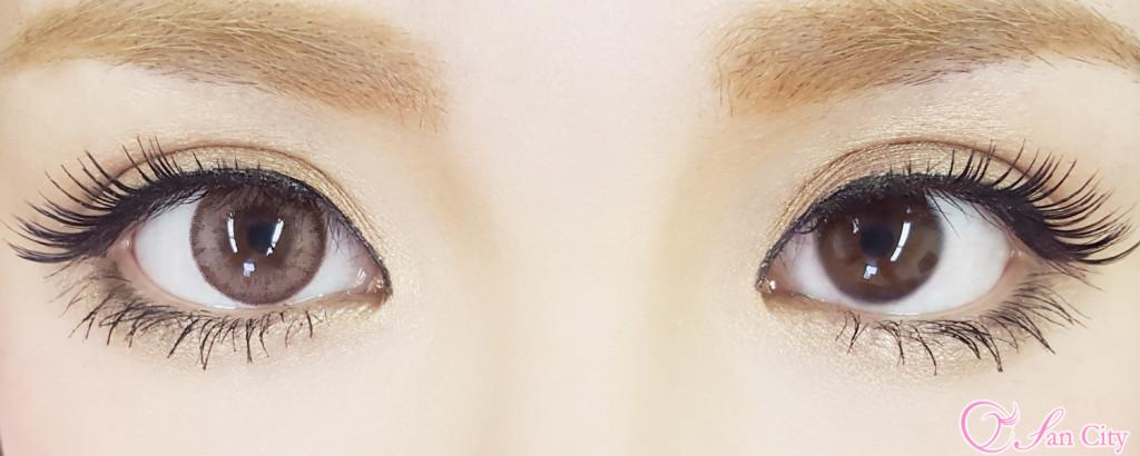 ルナナチュラルアーモンド装着した裸眼との比較画像
