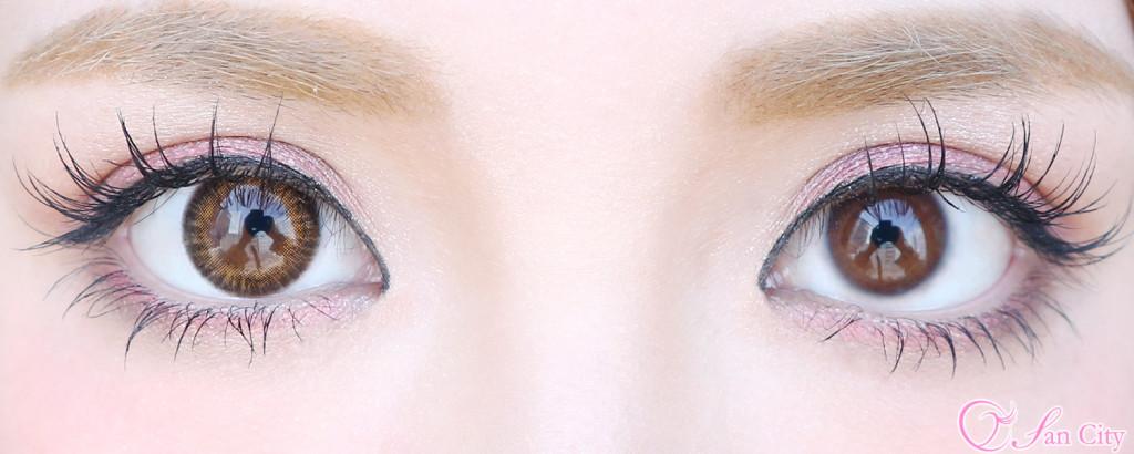 キャンディマジックアクアグラスブラウン裸眼との比較