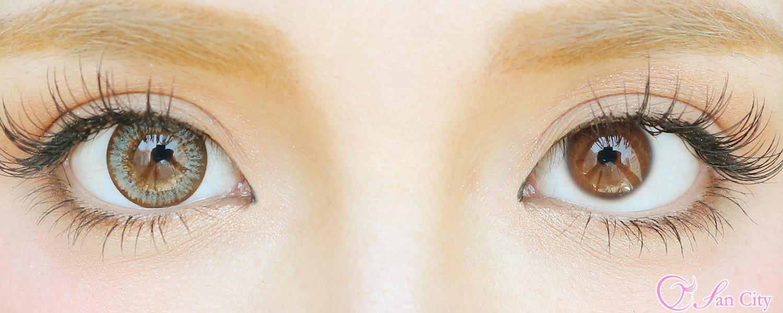 モーントグレーのカラコンと裸眼の比較