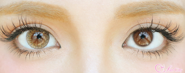 ナチュレブラウンのカラコン装着時と裸眼の比較