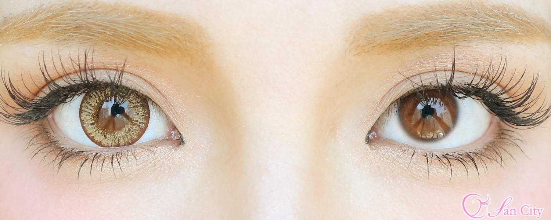 ダイヤサンティエブラウン装着後と裸眼比較